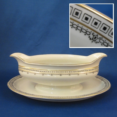 Z S & Co 9446 Greek Key Variation gravy boat with attached base
