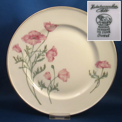 Hutschenreuther Unknown 2 (Juwel, poppies) luncheon plate