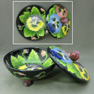 Pansy candy dish with lid