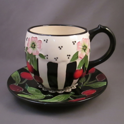 Cherry cup & saucer - Icing on the Cake - Click Image to Close