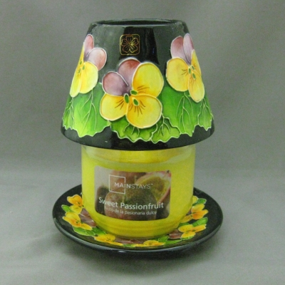 Pansy jar candle, shade, and base