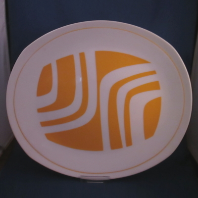 Independence Yellow Zebra oval platter