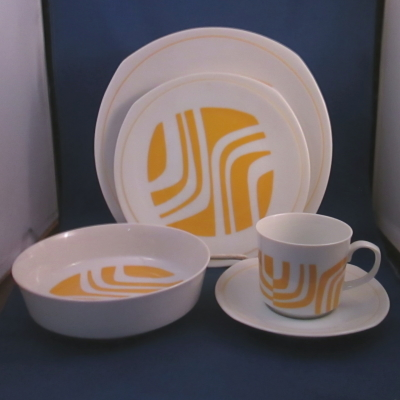 Independence Yellow Zebra 5 piece place setting
