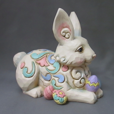 White Woodland Bunny with Easter Eggs