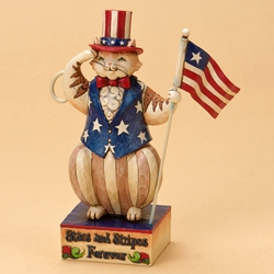 Stars and Stripes Forever - Patriotic Cat Holding Flag
