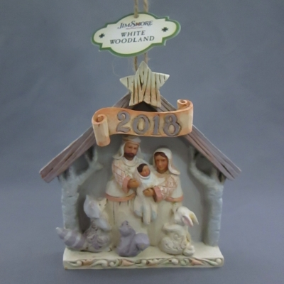 2018 dated White Woodland Nativity ornament