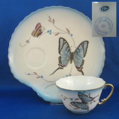 Blue Butterfly snack set (8 pc set - 4 place settings)