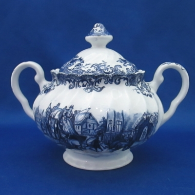 Johnson Brothers Coaching Scenes-Blue sugar bowl with lid