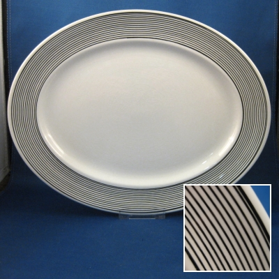 "Johnson Brothers Orbit-B&W small oval platter (12"")"