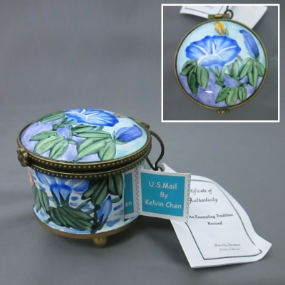 Stamp Box, Round with Morning Glories