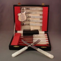 Kirk & Matz Pearl-handled Fork and Knife set