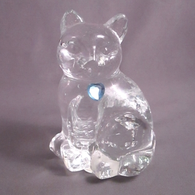 Lefton Glass Birthstone Cat - March Aquamarine