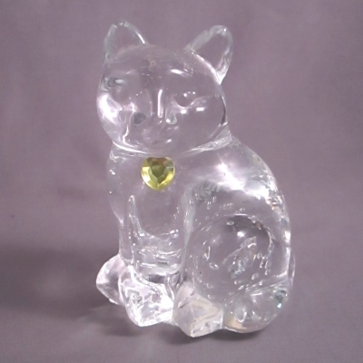 Lefton Glass Birthstone Cat - November Topaz