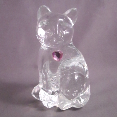 Lefton Glass Birthstone Cat - October Tourmaline