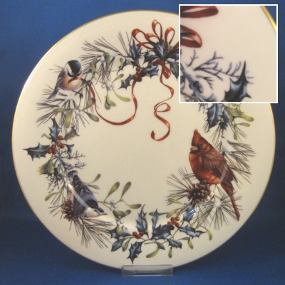 Winter greetings red ribbons holly and pinebirdsgold trim lenox winter greetings dinner plate m4hsunfo