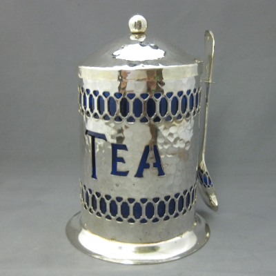 Leonard/Eales of Sheffield Cobalt Glass/Silver tea caddy & spoon