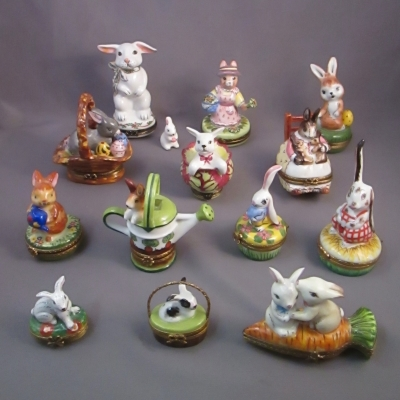 Collection of 13 Limoges rabbit porcelain boxes