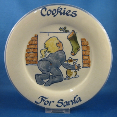Louisville Cookies for Santa plate - girl at fireplace