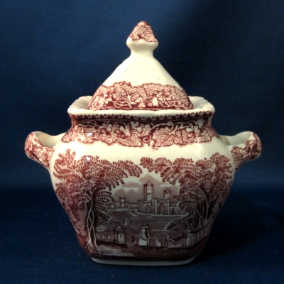 Mason's (Vista-pink) sugar bowl