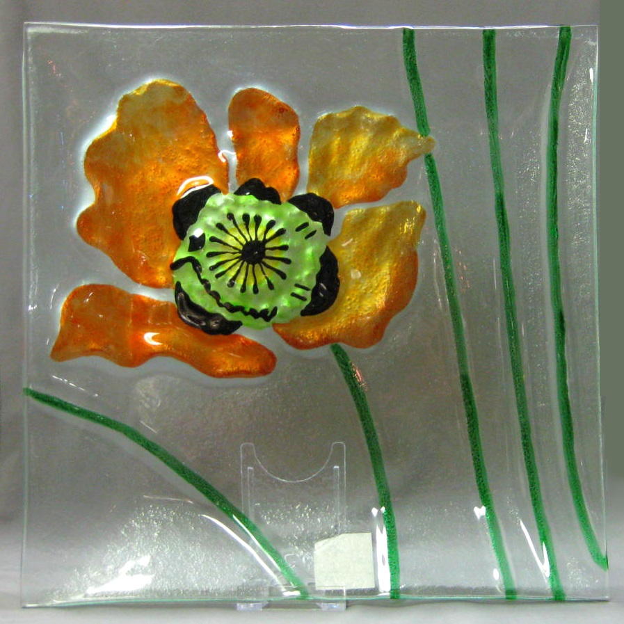 Poppy Square Plate (orange) by Melrose