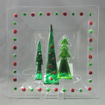 Christmas Trees square plate by Melrose