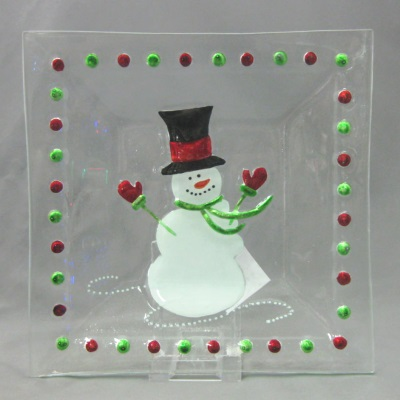 Square Snowman plate by Melrose