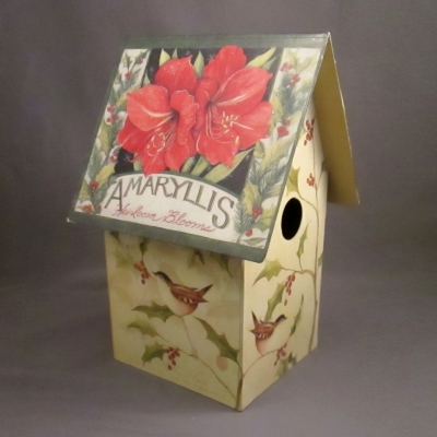 Winter Floral Birdhouse (tall)