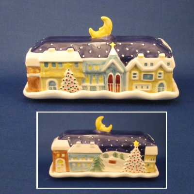 twas the night before christmas covered butter dish