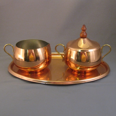 Old Dutch copper creamer & sugar set