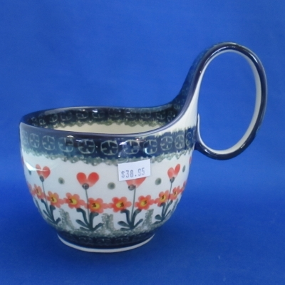 Polish Pottery handled soup mug