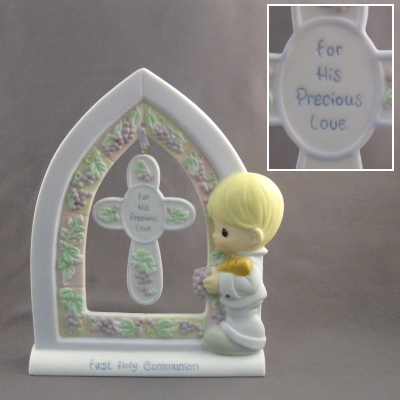 First Holy Communion standing plaque with cross-Boy/Grapes