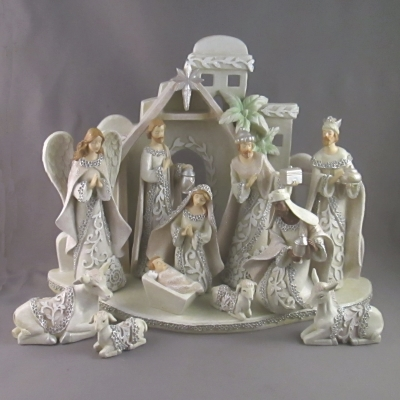 White Lace Nativity with Stable, 13 piece - Roman