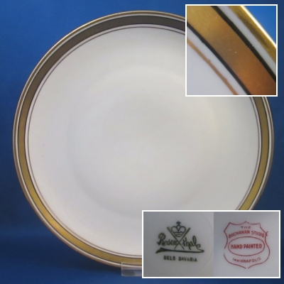 Rosenthal Unknown 3 (gold/black border) luncheon plate