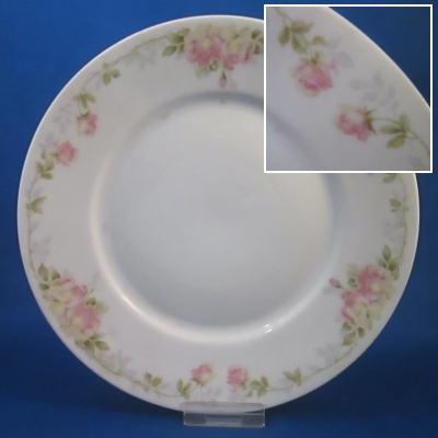 Rosenthal Unknown 5 (roses with gray & green leaves) salad plate