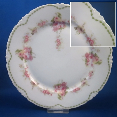 Rosenthal Unknown 7 (green ribbon, pink roses) salad plate