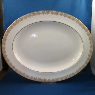 "Royal Doulton Gold Lace 13"" and 16"" platters"