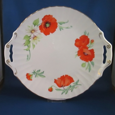 Royal Worcester Poppies pierced cake plate