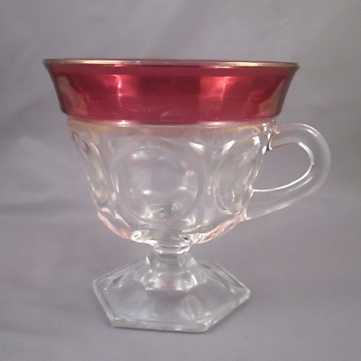 Ruby flash footed punch cup with hexagonal foot