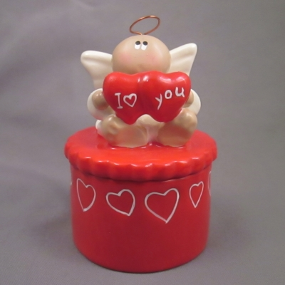 Angel with I Heart You red heart on red box
