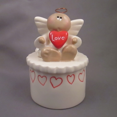 Angel with Love red heart on white box