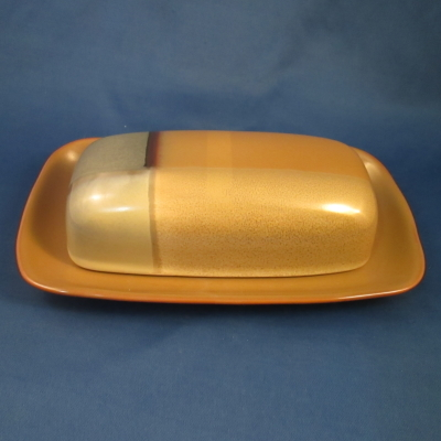 Sango Gold Dust Green covered butter dish
