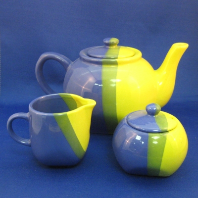 Blue/green/yellow 5 pc tea set - Sky Canyon
