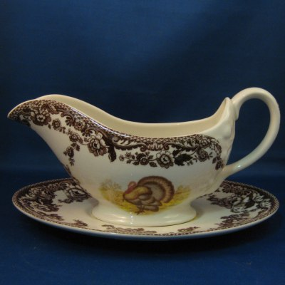Spode Woodland Turkey gravy boat