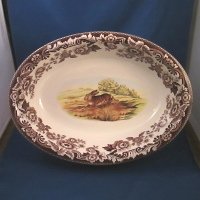 Spode Woodland Rabbit oval rimmed dish