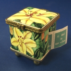Stamp Box, Square with Yellow Lilies