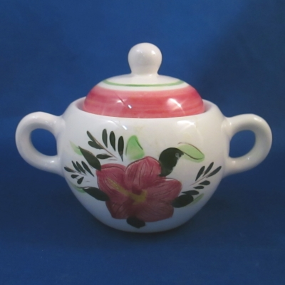 Stangl Country Garden sugar bowl with pink lid