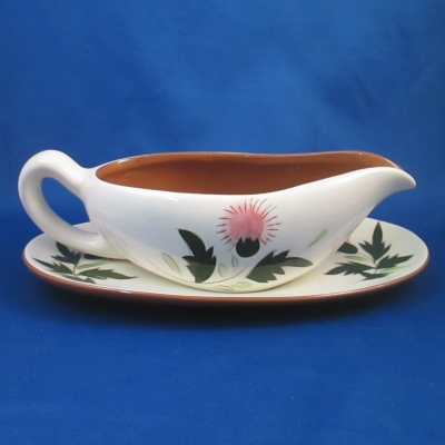 Stangl Thistle gravy boat and base