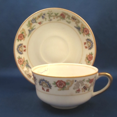 Syracuse Oriental-yellow trim cup & saucer