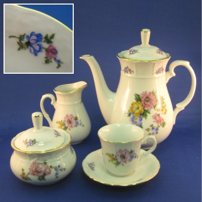 Thun 17 pc coffee set - Unknown Pattern (multicolor floral)