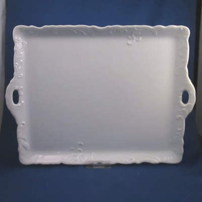 Japan (Unknown) white embossed rim rectangular sandwich tray